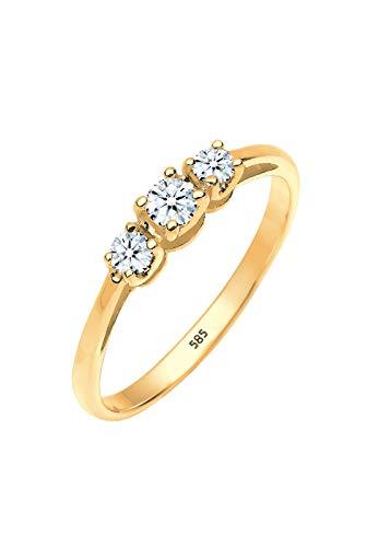 Diamore Damen-Ring Verlobung Trinity Diamant 0,22 Karat 585 gelbgold weiß Gr. 54 (17.2) 0601121314_54 (14k Ringe Schmuck Gold)