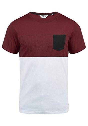 !Solid Kold Herren T-Shirt Kurzarm Shirt mit Streifen und Rundhalsausschnitt 100% Baumwolle, Größe:XL, Farbe:Wine Red (0985)