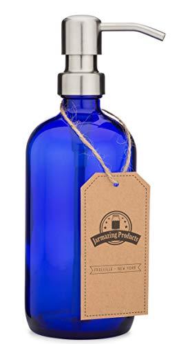 jarmazing Produkte Kobalt Blau Glas Pint Jar Seife und Lotion Spender mit Metall Pumpe-16Unze-Parent Edelstahl -