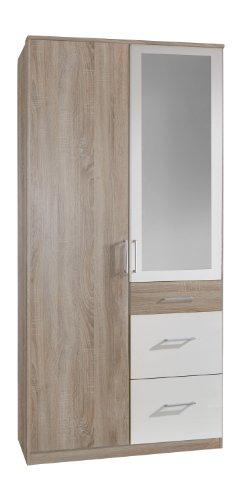 Wimex Kleiderschrank/Drehtürenschrank Click, 2 Türen, 2 große, 1 kleine Schublade, 1 Spiegel, (B/H/T) 90 x 199 x 58 cm, Eiche Sägerau/Absetzung Weiß (Kleiderschrank Tür 2)