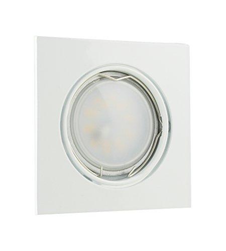LED Einbaustrahler Einbaurahmen Einbaulampe Deckenleuchte Lampe Spot Einbauleuchte Einbauspot GU10 Deckenspot Deckenstrahler Deckenlampe 230V Rahmen SMD COB Rund Eckig aus der Serie Alu NAVY (s) (weiß) inkl. LM-2 ( 3 Watt LED Milchglas ) (kaltweiss) - Serie Aluminium-rahmen