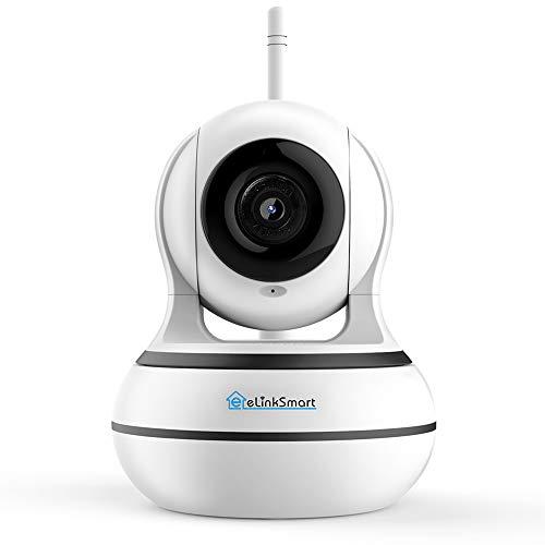 eLinkSmart Überwachungskamera WiFi Innen-Kamera, IP Webcam mit Zwei-Wege-Audio, Nachtsicht, unterstützt Fernalarm und Mobile App Kontrolle für Smartphones/Tablets
