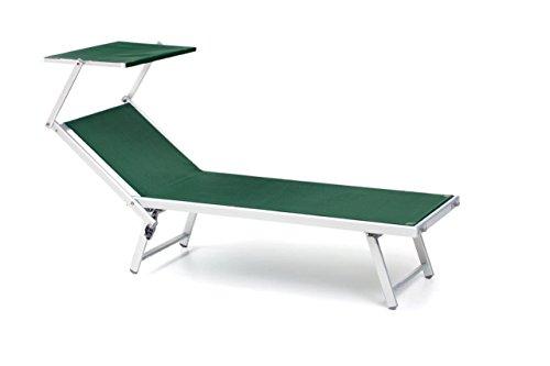 Totò piccinni salento lettino prendisole pieghevole 186x61x38cm in alluminio con tettuccio (verde)