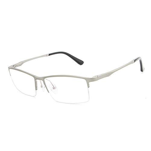WULE-Sunglasses Unisex Männer Plain Brille Fashion Classic Square Frame Al-Mg ultraleichten Brillengestell für (Color : Silber, Size : Kostenlos)