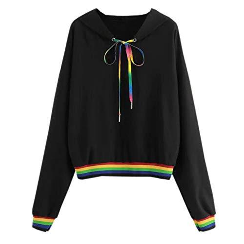 VJGOAL Top Damen Pullover Hoodie Sweatshirt Tshirt Frauen Mädchen Freizeit Wild Regenbogen Streifen Nähen Sports Lange Ärmel Bluse Browning-camo Sweatshirt
