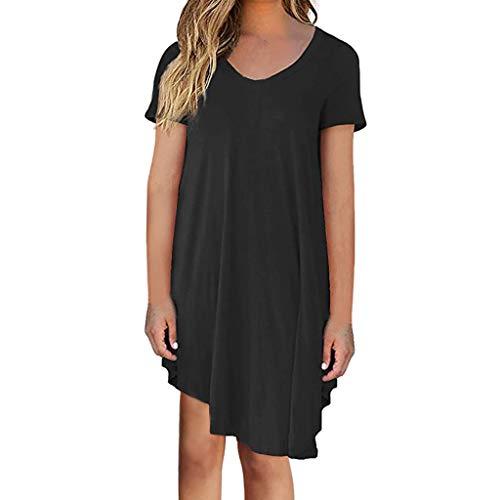 VEMOW Damenmode Tasche Lose Kleid Damen Rundhalsausschnitt beiläufige Tägliche Lange Tops Kleid Plus Größe(Z1-Schwarz, EU-48/CN-XL)