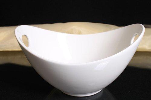 Schale oval mit Griffen Porzellan weiss Salatschale Obstschale Ovale Schale