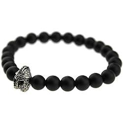 Styles Plus–Pulsera para Hombre de pulsera elástico flexible de bola de piedras negras con Gladiator Casco Guerrero Warrior SP de a de 518–2