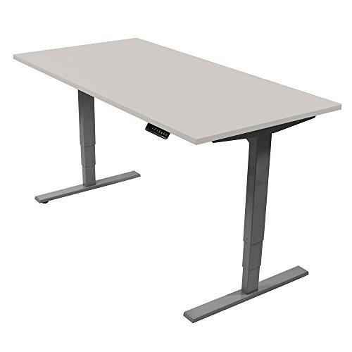 Ergotopia Elektrisch höhenverstellbarer Schreibtisch 5 Jahre Garantie | Ergonomischer Steh-Sitz Tisch mit Memory Funktion | Beugt Rückenschmerzen vor & Macht produktiver (180 x 80 cm, Grau)