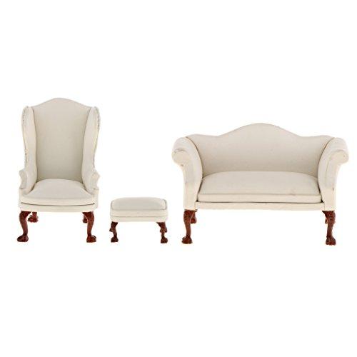 Baoblaze Miniatur Wohnzimmermöbel Couch, Sofa, Ottomane für 1:12 Puppenhaus Dekoration - Weiß