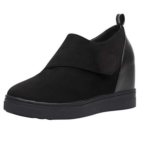 Rosennie Damen Stiefel Booties Schuhe Fashion Casual Solid High Heel Kurze Stiefel der Frauen Zunehmender Keil Schuhe Damenmode Kurzschaft Stiefel (Keil-knie-boot Wildleder)