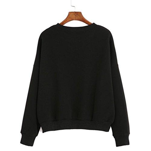 Sweat-shirt Manches Longues Imprimé Alphabet Uni Fille Femme Koobea Noir
