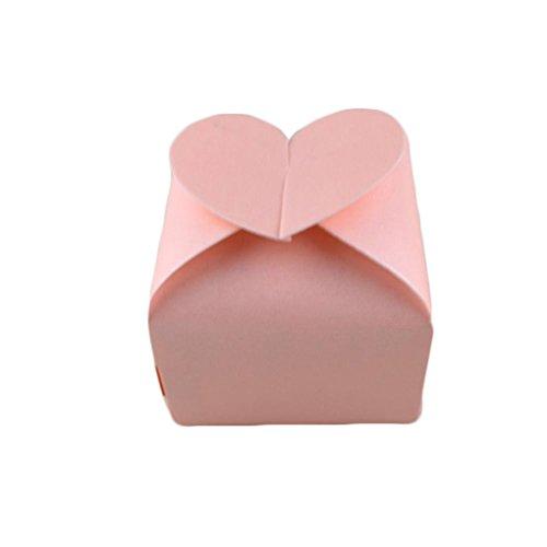 QHGstore 100pcs partito fai da te scatola di caramella di nozze di amore carta cuore (Scatole Candy Personalizzati)