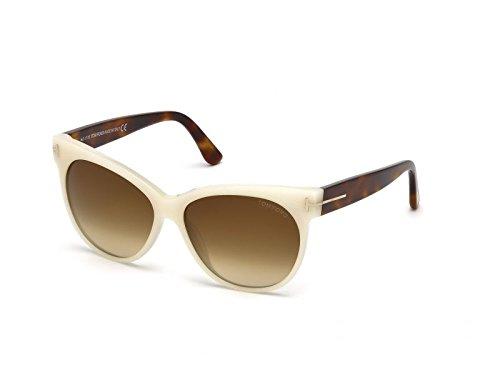 Tom Ford Für Frau 0330 Pearl White / Tortoise / Gradient Brown Kunststoffgestell Sonnenbrillen