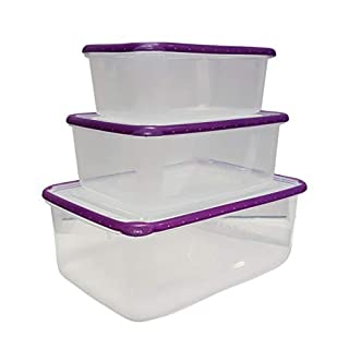 Cflagrant Set of 3 Boxes 100% Airtight Compatible with Freezer, Microwave and Dishwasher: 4 litres - 2 litres - 1.2 litres Random Colours