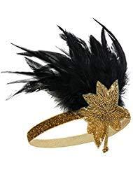 Metme Damen Satin Charleston Stirnband Haar Zubehör 20 s Flapper Stirnband Kopfschmuck Gold Blume + Gold Band