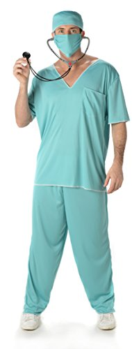 Doktor Scrubs Herren Krankenhaus ER Uniform Erwachsene Chirurg Kostüm Neu (Large Biz su 44