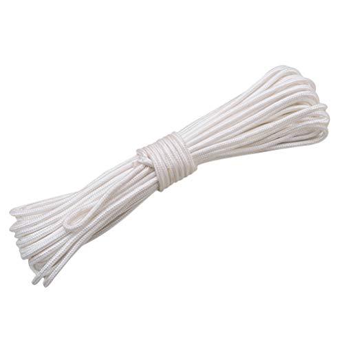 OUNONA Corde de drisse de Drapeau de Corde de Nylon de Corde tressée épaisse de Haute résistance (Blanc)