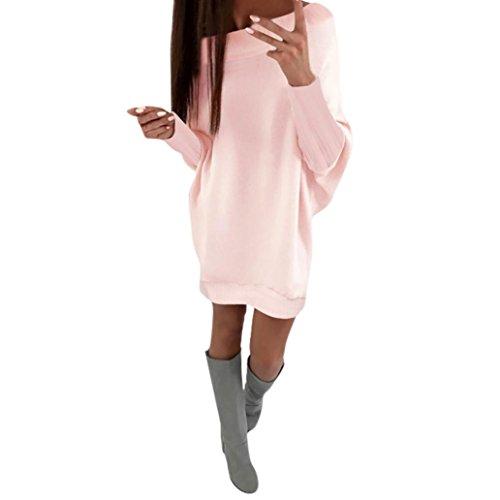 Bekleidung Damen Kleider Yesmile Solid Langarm Fledermausärmel Damen Mini O Ausschnitt Einfarbig Tasche Lose unregelmäßig Kleid Damen Rundhalsausschnitt beiläufige Lange Tops (XL, Rosa)