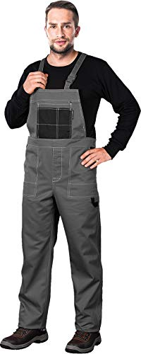 Arbeitslatzhose Latzhosen Latzhose Arbeitshose multifunktion Hose Arbeitskleidung versch. Farben Gr. 46-62 (52, grau)