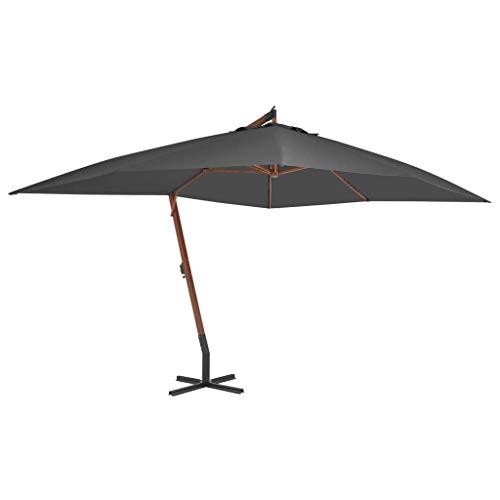 Festnight- Ampelschirm mit Holzmast 400x300 cm   Sonnenschirm Marktschirm Balkonschirm Gartenschirm Terrassenschirm Sonnenschutz, Rechteckig Anthrazit
