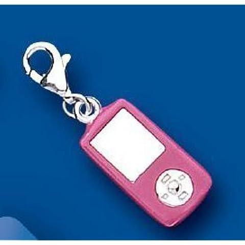 Color de rosa caliente de esmalte de teléfono móvil/teléfono clip-en encanto - ipod 925 de plata de ley - Thomas Sabo estilo BU2305