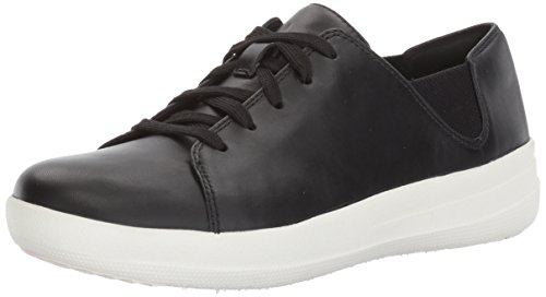 FitFlop F Sporty Lace Up Sneaker - Black Leather Womens Trainers 3 UK