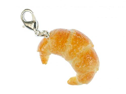 Miniblings Croissant Charm Zipper Anhänger Frühstück Französisch Hörnchen beige