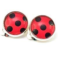 Stechschmuck Ohrclips Ohrklemmen Handmade Punkte Polka Dots Schwarz Rot Marienkäfer Lady Bug Ladybug Miraculous Silber Farben Damen Kinder Kitsch Kawaii 14mm 1 Paar