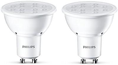 Philips - Bombilla foco LED, luz blanca cálida, 5 W, equivalente a 50 W, casquillo GU10, no regulable