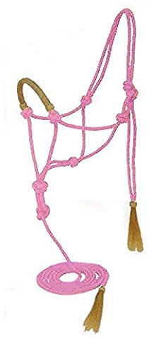 Rope Halter with Lead and Nylon Rawhide Braided Noseband - Pink