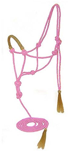 Tahoe Nylon Seil Halfter mit Blei und Rohhaut Geflochten Reithalfter, Pink