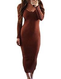 7a80cbfdedc8 Simple-Fashion Donne Primavera Autunno Senza Schienale Maglioni Vestiti  Sexy Strette Lungo Abiti da Partito