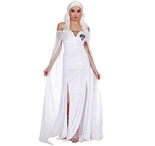 Für Erwachsenen Of Thrones Kostüm Queen - Damen Kostüm Mittelalter Queen of Thrones Drachenkönigin Kleid weiß Fasching S, M, L (S)
