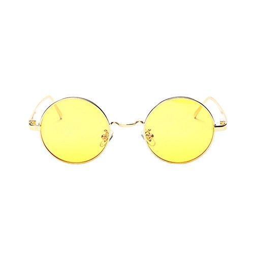 Haodasi Metall kreisförmigen Rahmen Gelb Objektiv Brillen Anti-Blau-Licht Filter Gläser, Blendschutz, Antireflex-, Anti-Müdigkeit, UV-und Computer / TV Elektromagnetische Strahlung Preserver