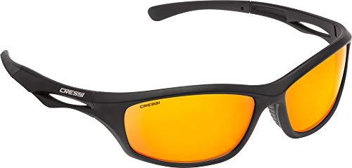 Cressi Unisex- Erwachsene Sniper Sunglasses Sport Sonnenbrillen, Schwarz/Linsen Verspiegelte Orange, One Size