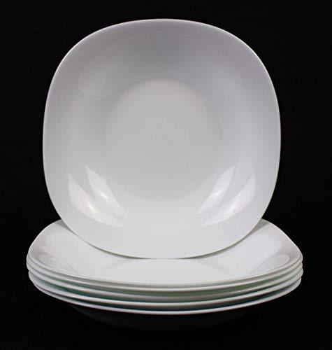 Fitting Gifts Bistro Collection Grandes Assiettes Creuses Parma Légèrement Carrées, Blanc Brillant (6 Pièces)