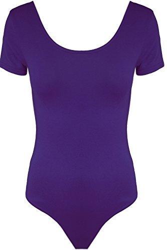 Damen Body Kurzarm Dehnbares Einfarbiges Top - S/M (EU 36/38), Lila (American Top Lila)