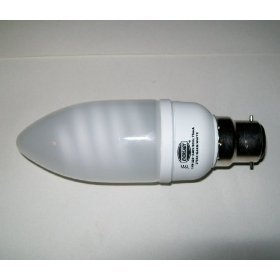 24 x Soft tone warm white BC B22 Fitting 11w candle shape Eco energy saving light bulbs. Standard UK bayonet cap fitting.