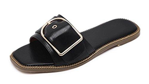 En forme de C boucle en cuir à fond plat décoré avec le mot glisser des sandales plates et les femmes pantoufles Black