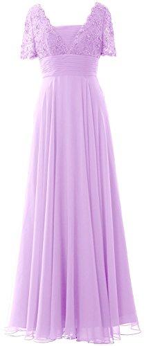Beyonddress Damen Perlen Abendkleider Lang Ballkleid Brautjungfernkleider Mit Ärmeln Chiffon Cocktailkleid Lavendel