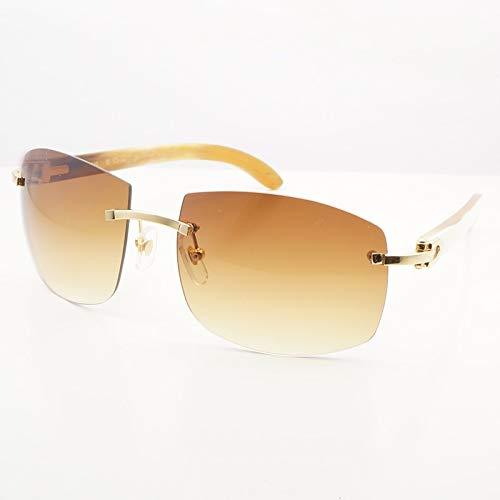 LKVNHP Hohe Qualität Übergroße Sonnenbrille Männer Big Square Carter Holz Sonnenbrille Vintage Square Designer Shades SonnenbrilleWeiß Buffalo Gold