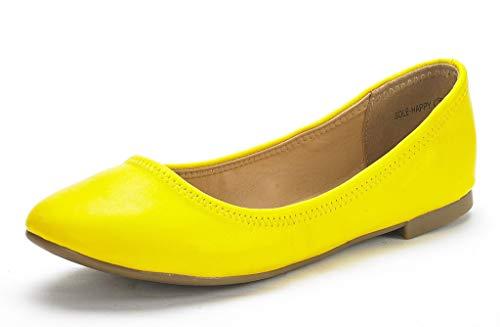 Dream Pairs Sole Happy Bailarina Plano para Mujer Amarillo 37.5 EU/6.5 US
