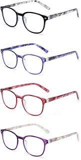 JM Lesebrille Satz von 4 Qualität Federscharnier Leser Damen Herren Brille Für Lesen +1.75 Mischfarbe