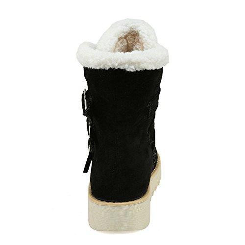 TAOFFEN Damen Warme kurze Plüsch Schneeschuhe Winter Knöchel Martin Stiefel mit Schnallenriemen Schwarz