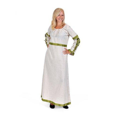 Guinevere Kostüm Mittelalter (Mittelalterkleid m edler Zierborte natur-oliv Damen Gewand Kostüm)
