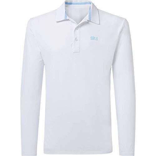 Sportkind Jungen & Herren Tennis/Golf/Sport Langarm Poloshirt, Weiss, Gr. L