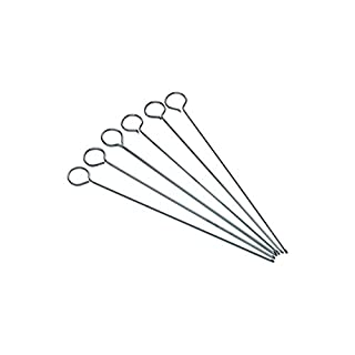 KitchenCraft Flat BBQ Kebab Skewers, 20 cm (Set of 6 Metal Skewer Sticks)