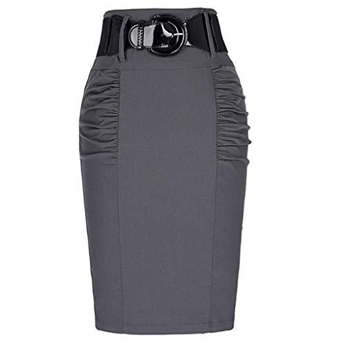 MMOOVV Rock Damen Sommer Retro Kleid Fashion Business Elite Frau Arbeit Stretch Büro Bleistiftrock (Grau L)