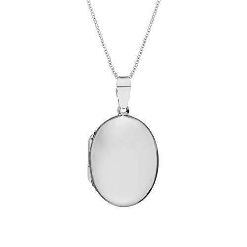 Sterling Silber Groß Einfach Glatt Oval Medaillon Anhänger Halskette, 46 cm ()
